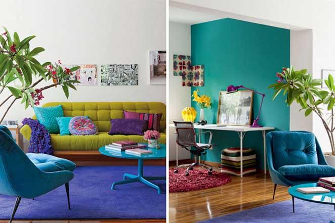 salas de estar de casas coloridas