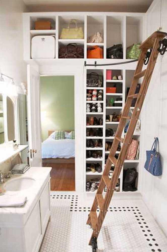closet feminino com escada