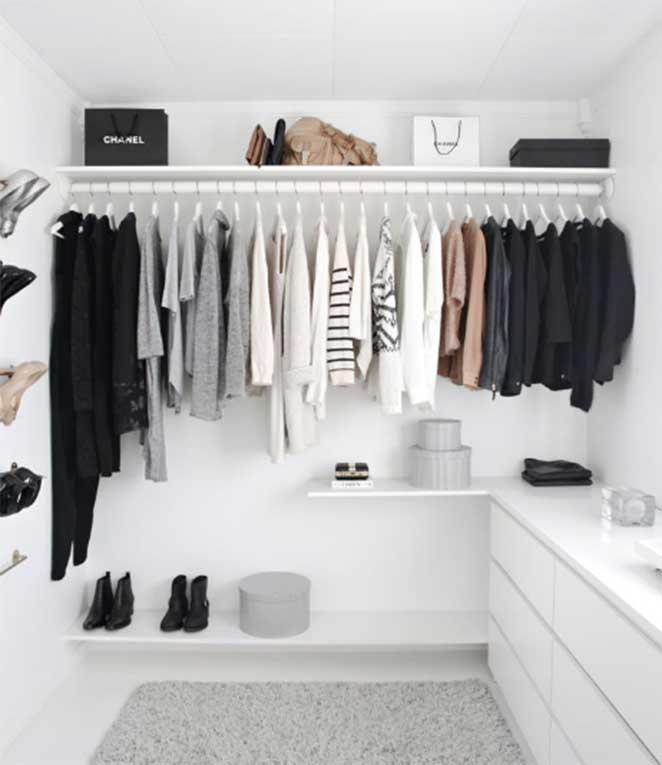 closet feminino organizado