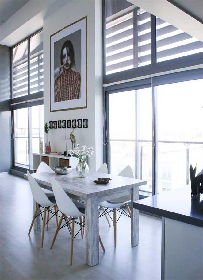 decoracao com branco para sala de jantar