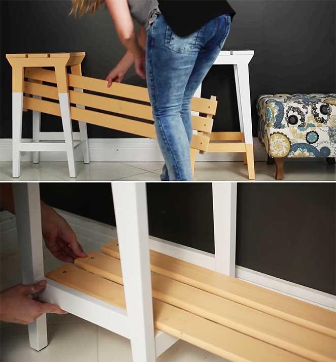 diy estante de bancos de madeira