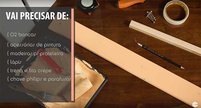 materiais para diy estante de bancos de madeira