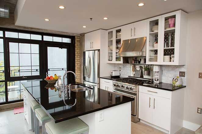 cozinha de loft decorado