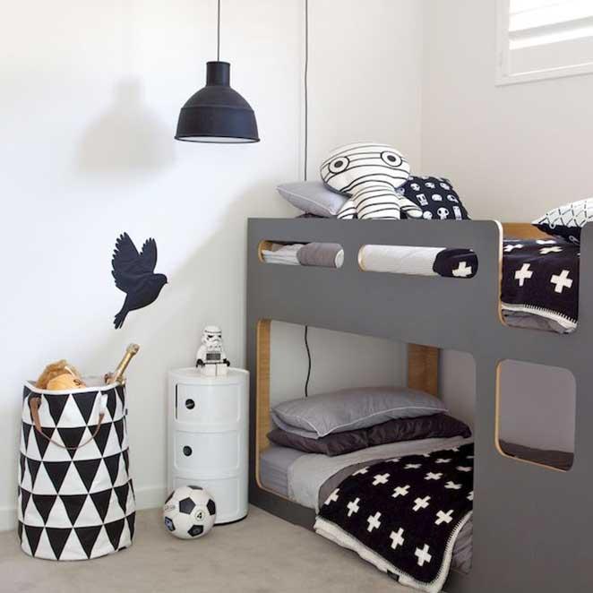 abuse nas texturas para decorar um quarto infantil preto e branco