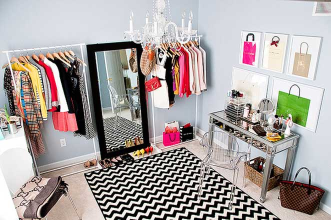closet feminino colorido