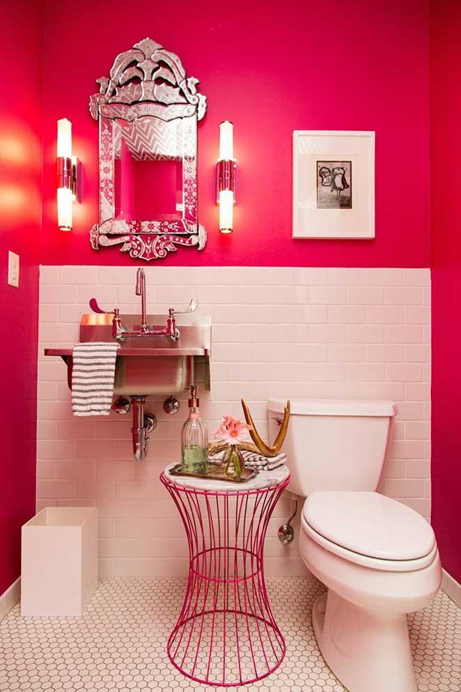 loft decorado com lavabo rosa