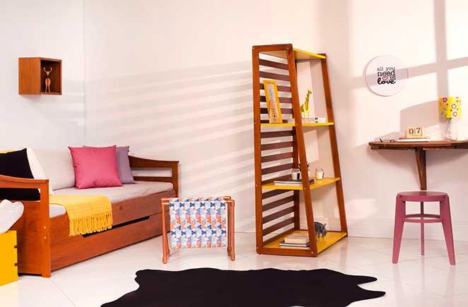 estantes abertas para dividir pequenos espacos