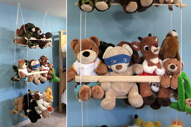 organizador de brinquedos pendurado do teto