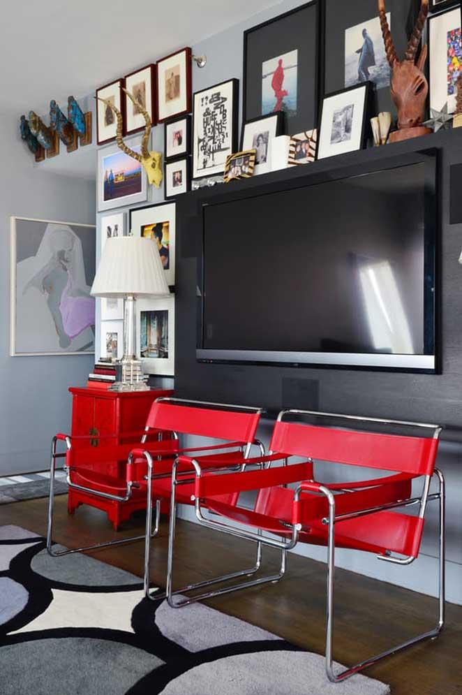 Decoracao De Sala Sofa Cinza ~ de Sala Shaggy VermelhoPreto 50cm x 1,00m Panosul # decoracao de sala
