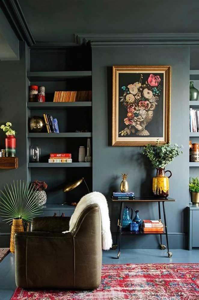 decoracao com cores escuras
