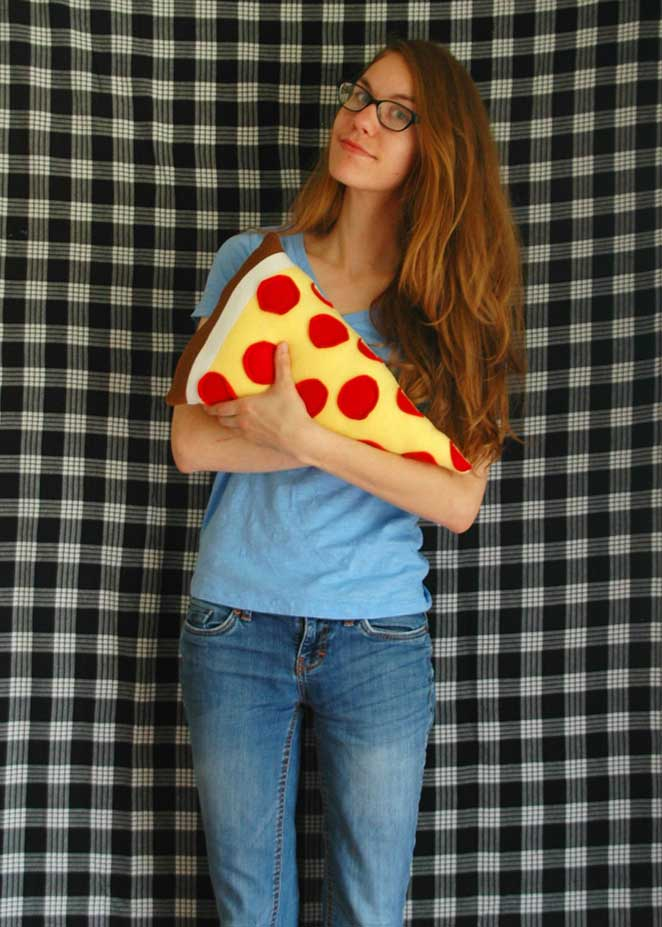 diy almofada de pizza