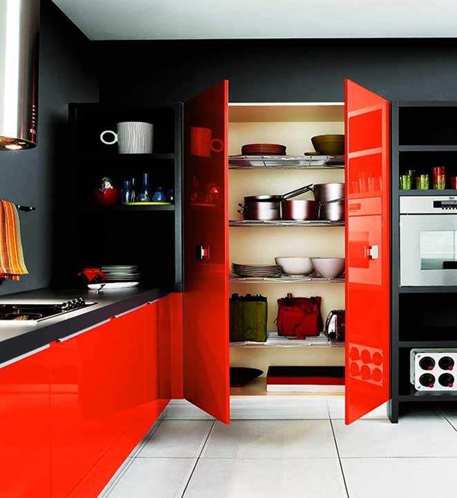 parede-preta-cozinha-vermelha