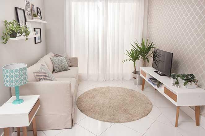 Montar Sala De Estar Pequena ~ Sala de estar pequena o lado da televisão