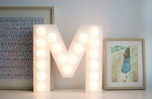 diy letra decorativa com luz
