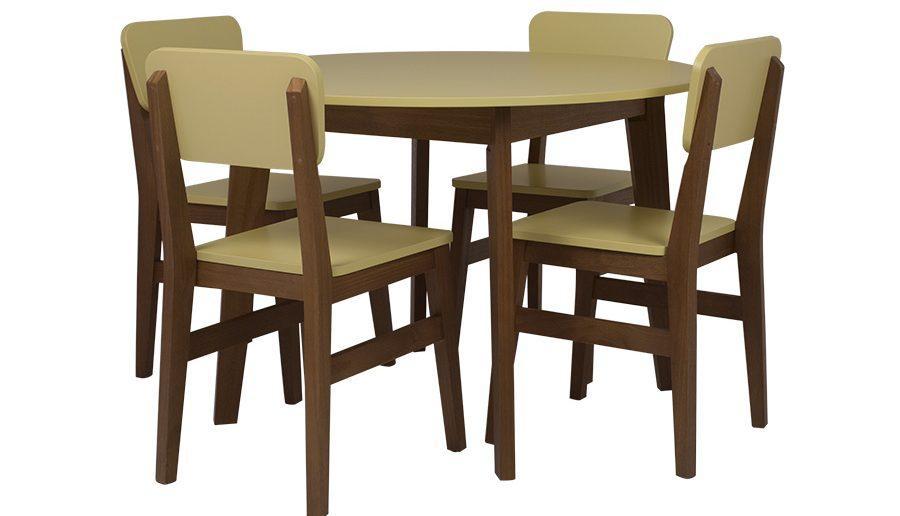 Conjunto de sala de jantar com mesa redonda 4 lugares Charme - Doce de leite escovado e amarelo retrô