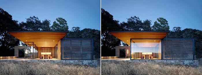 Portas de vidro deslizam e giram para manter o pavilhão da Quintessa aberto ou fechado