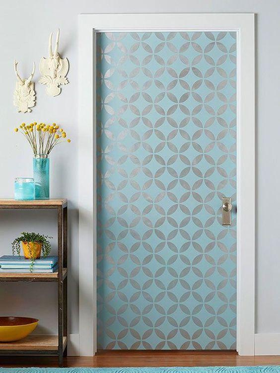 decorando portas: porta estampada verde
