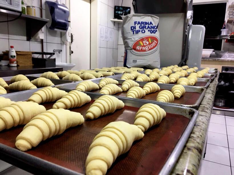Produção de croissant