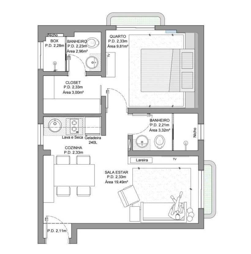 Planta de Sala e cozinha somam 19,50 m²