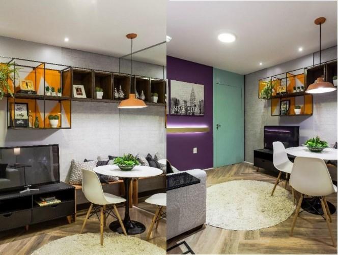 Sala pequena com sofá, rack, estante e mesa de jantar; projeto de Marcy Ricciardi Sala de jantar com parede espelhada e rack da TV; projeto de Marcy Ricciardi