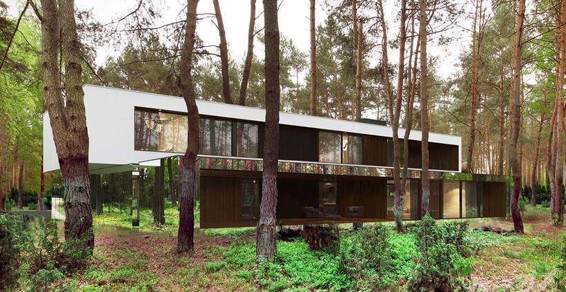 facha da casa de espelho que causa ilusão de óptica no meio de um bosque