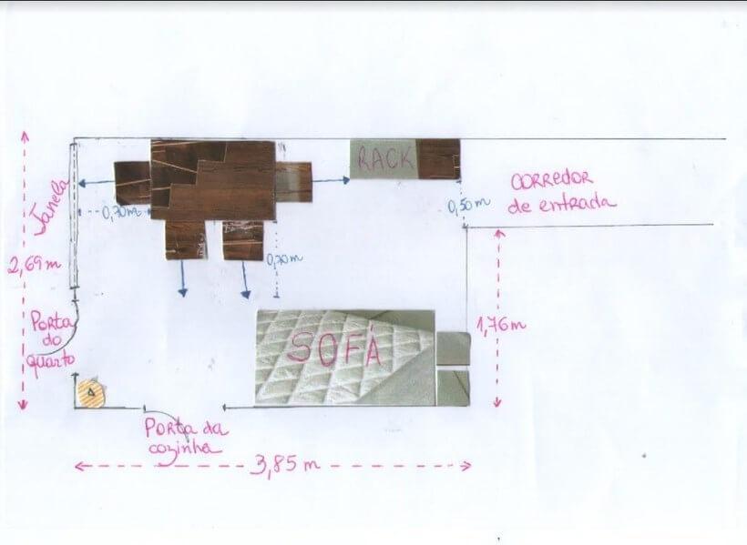 planta com flechas e medidas para acertar na distribuição dos móveis na sala de estar e jantar