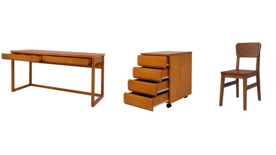 escrivaninha duna, gaveteiro delta e cadeira charme que formaram um cantnihno de estudos