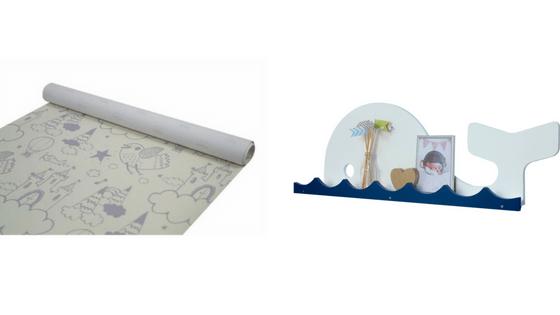 papel de parede infantil e prateleira baleia