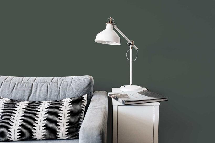 sala de estar com parede em tom verde escuro