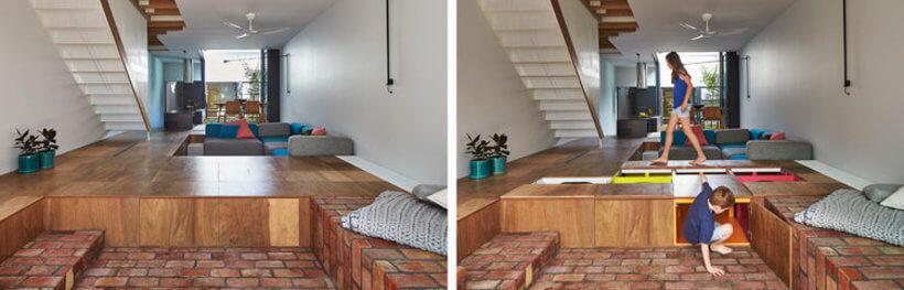 piso que se transforma em caixas de brinquedos e otimiza espaço