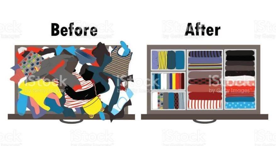 antes e depois das roupas organizadas na gaveta