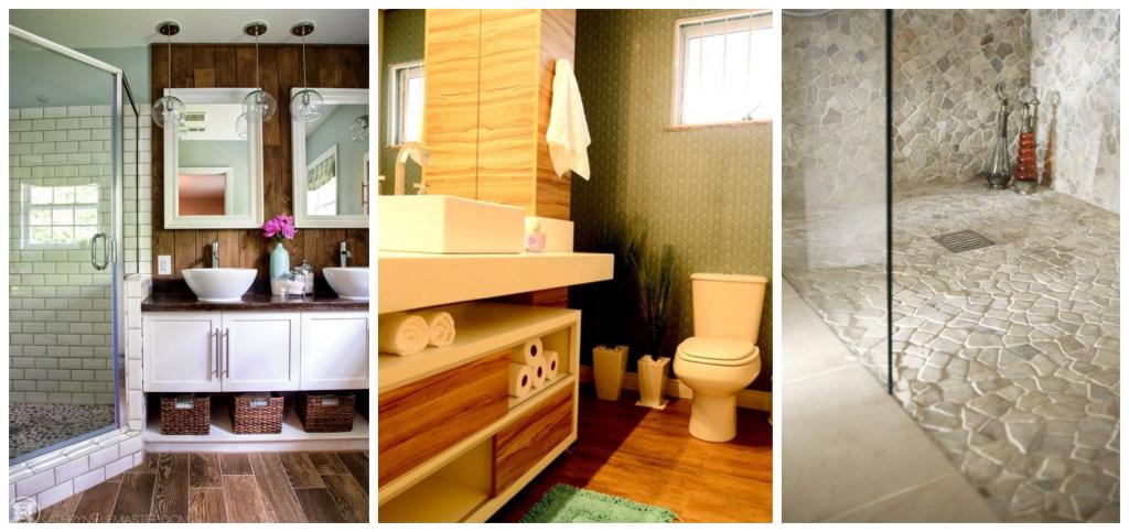 Banheiros em madeira e pedra natural