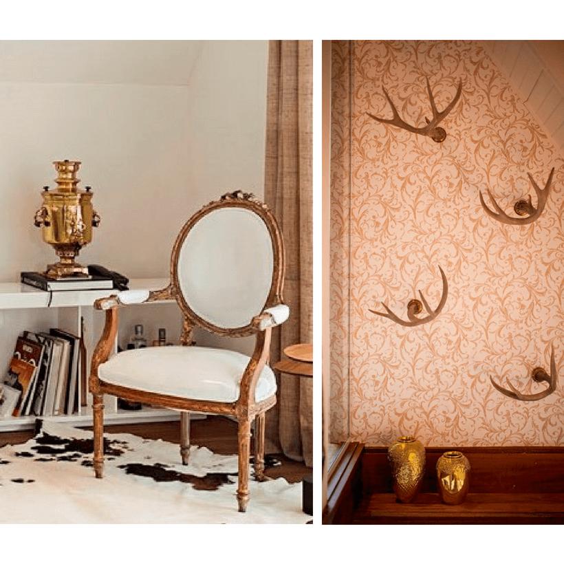 detalhe da cadeira reformada e dos cifres de veado na decoração do chalé em campos do jordao inspirado da arquitetura europeia