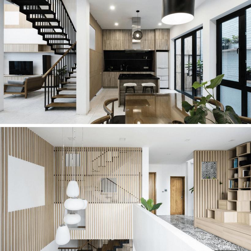 sala de tv e escadas no interior de casa no vietnã construida para ter luz natural e com muito verde