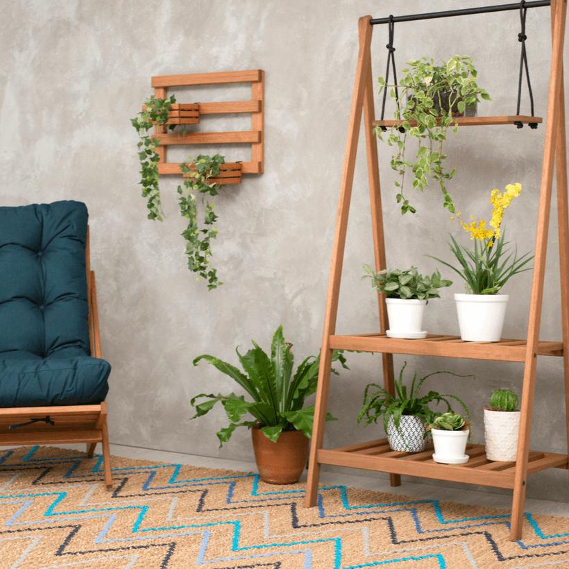 cada indoor, jardim dentro de casa com plantas penduradas em uma arara de jardim