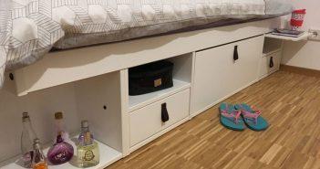 detalhe das gavetas e nichos da cama de solteiro bali branca
