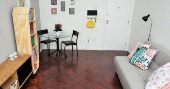 sala de estar e jantar integradas junto com atelier de costura
