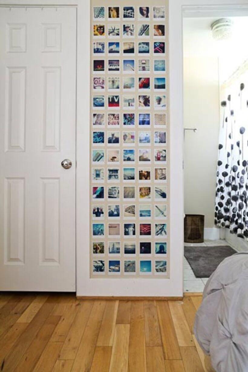 Painel com fotos polaroid
