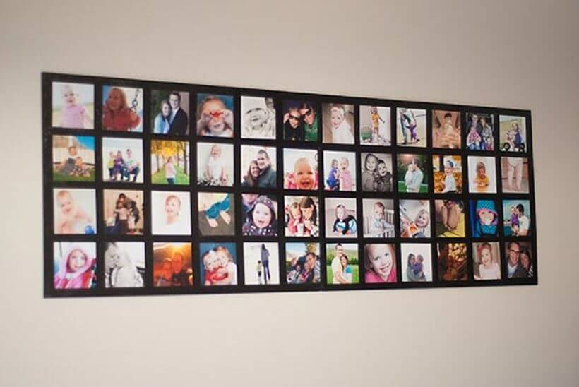Painel preto para fotos quadradas