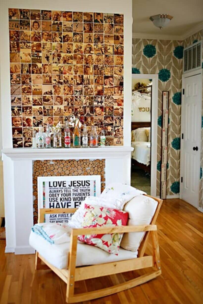 Parede acima de lareira decorada com várias fotos do mesmo tom de sépia