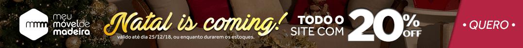 Banner de promoção: 20% em todo o site campanha natal is coming