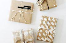 embalagem de presente com papel kraft e tinta branca