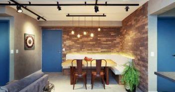 sala de jantar com iluminacao em led nos bancos e pendentes