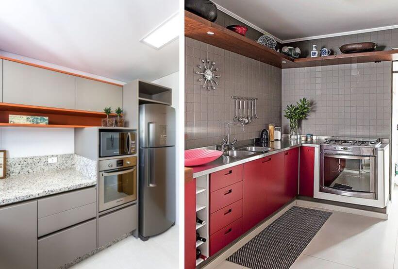 Cozinhas com detalhes nos móveis em laranja e vermelho | Imagens: Pinterest