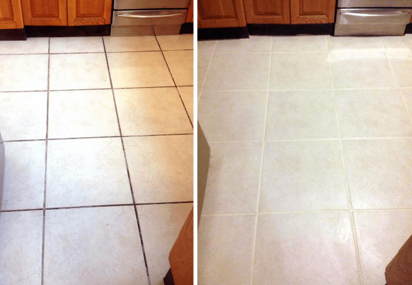 Antes e depois do rejunte no banheiro pintado