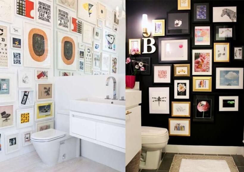 Quadros pendurados nas paredes de dois banheiros, do lado esquerdo, um banheiro branco com grande de diversos tamanhos ao lado do vaso. no lado direito, um banheiro com parede preta com muitos quadros de diversos tamanhos ao lado do vaso