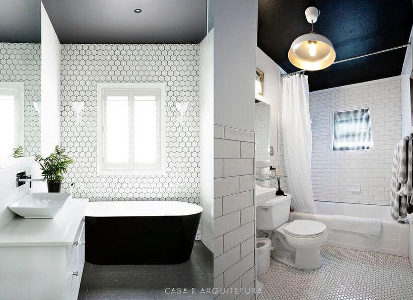 Duas fotos de banheiros com o teto pintado de preto