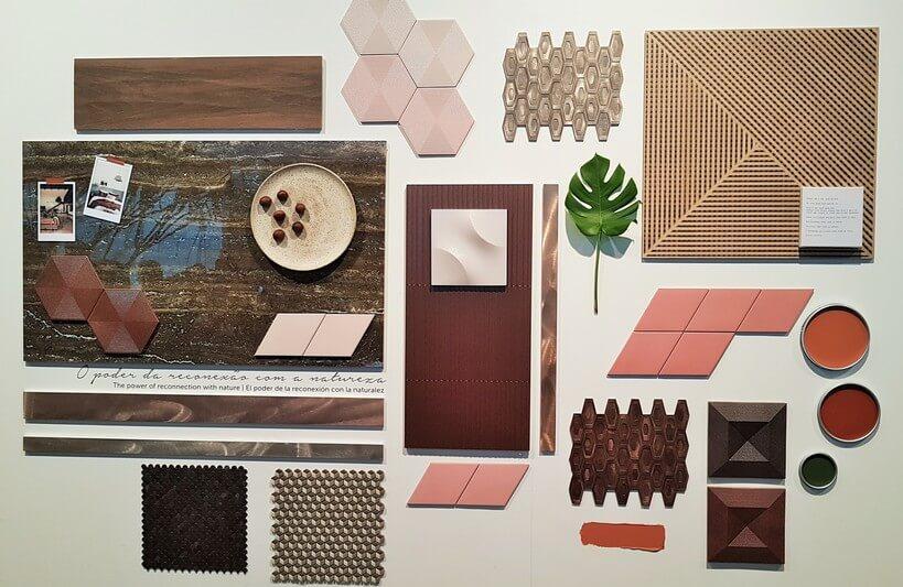 Painel de referências da paleta Urban Brown, da Portinari