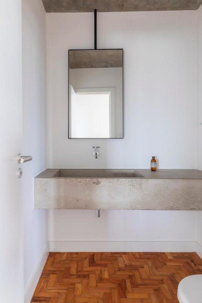 cuba de cimento queimado em lavabo em apartamento consolacao - avenida paulista