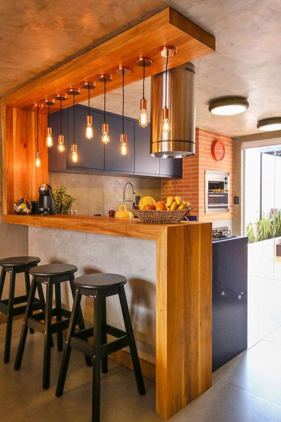 bancada na cozinha economiza espaço.